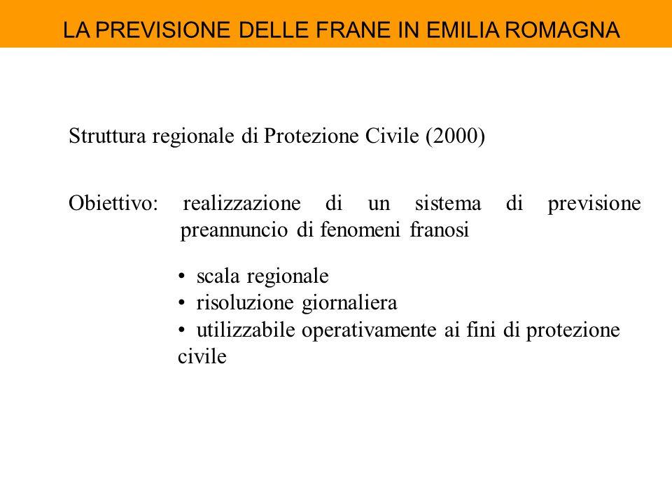 LA PREVISIONE DELLE FRANE IN EMILIA ROMAGNA Struttura regionale di Protezione Civile (2000) Obiettivo: realizzazione di un sistema di previsione prean
