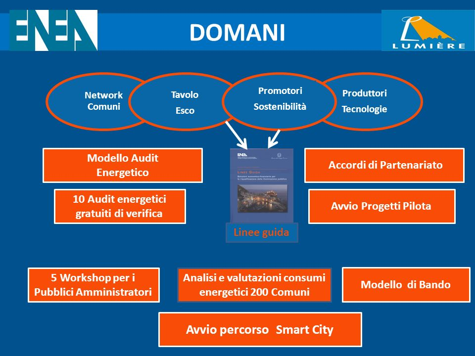Network Comuni DOMANI Tavolo Esco Produttori Tecnologie Promotori Sostenibilità 5 Workshop per i Pubblici Amministratori 10 Audit energetici gratuiti