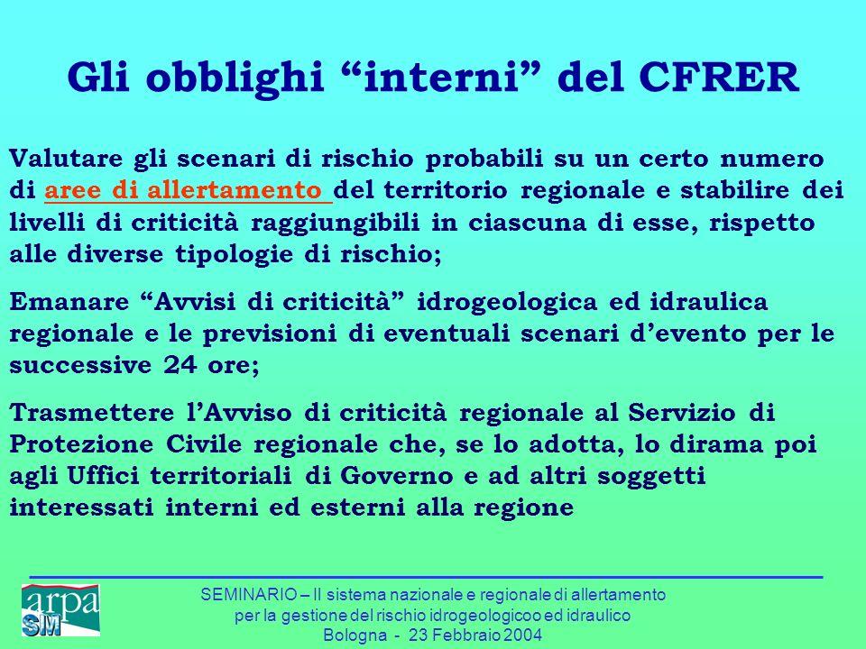 SEMINARIO – Il sistema nazionale e regionale di allertamento per la gestione del rischio idrogeologicoo ed idraulico Bologna - 23 Febbraio 2004 Gli ob