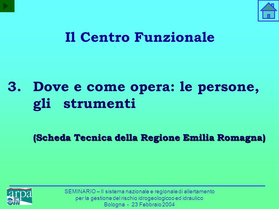 SEMINARIO – Il sistema nazionale e regionale di allertamento per la gestione del rischio idrogeologicoo ed idraulico Bologna - 23 Febbraio 2004 (Sched