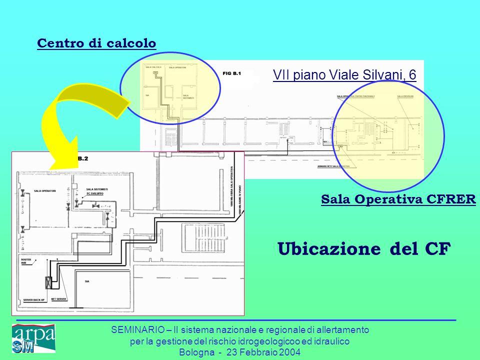 SEMINARIO – Il sistema nazionale e regionale di allertamento per la gestione del rischio idrogeologicoo ed idraulico Bologna - 23 Febbraio 2004 Ubicaz
