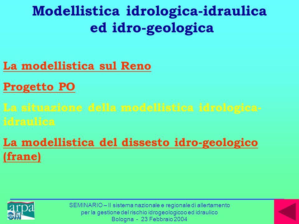 SEMINARIO – Il sistema nazionale e regionale di allertamento per la gestione del rischio idrogeologicoo ed idraulico Bologna - 23 Febbraio 2004 La mod