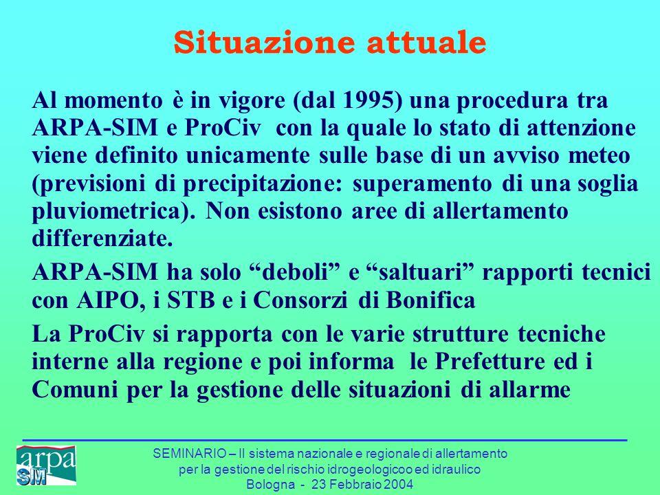 SEMINARIO – Il sistema nazionale e regionale di allertamento per la gestione del rischio idrogeologicoo ed idraulico Bologna - 23 Febbraio 2004 Situaz