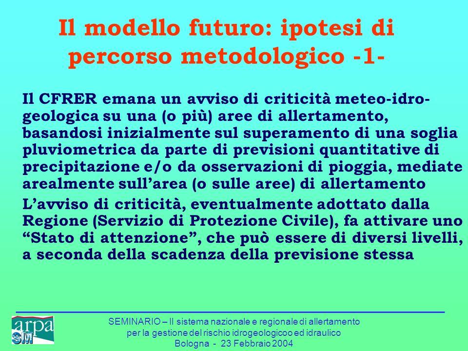 SEMINARIO – Il sistema nazionale e regionale di allertamento per la gestione del rischio idrogeologicoo ed idraulico Bologna - 23 Febbraio 2004 Il mod