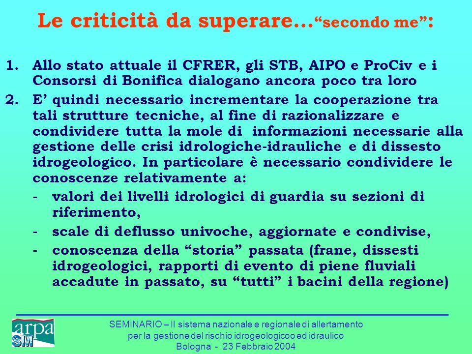 SEMINARIO – Il sistema nazionale e regionale di allertamento per la gestione del rischio idrogeologicoo ed idraulico Bologna - 23 Febbraio 2004 Le cri