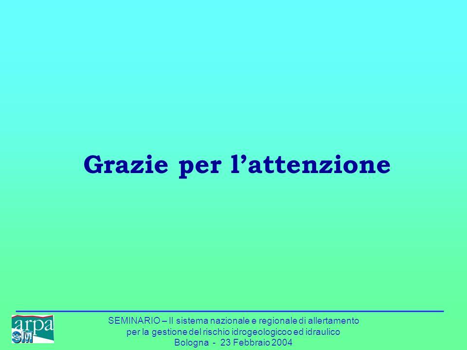 SEMINARIO – Il sistema nazionale e regionale di allertamento per la gestione del rischio idrogeologicoo ed idraulico Bologna - 23 Febbraio 2004 Grazie