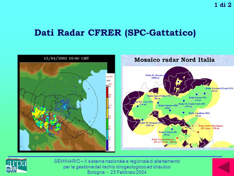 SEMINARIO – Il sistema nazionale e regionale di allertamento per la gestione del rischio idrogeologicoo ed idraulico Bologna - 23 Febbraio 2004 Dati R