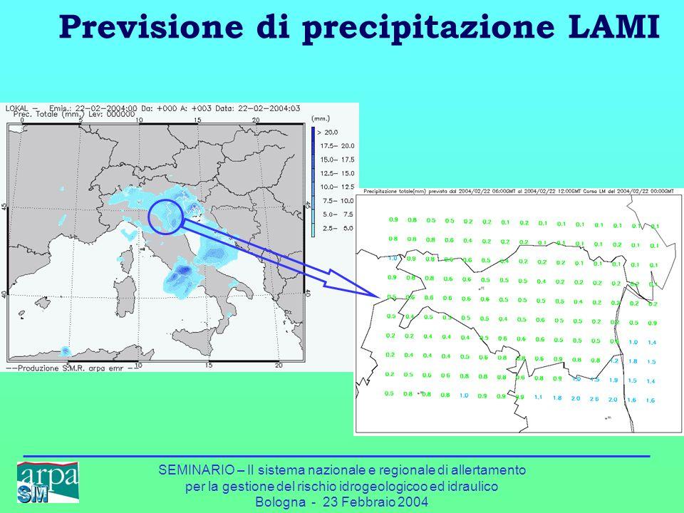 SEMINARIO – Il sistema nazionale e regionale di allertamento per la gestione del rischio idrogeologicoo ed idraulico Bologna - 23 Febbraio 2004 Previs