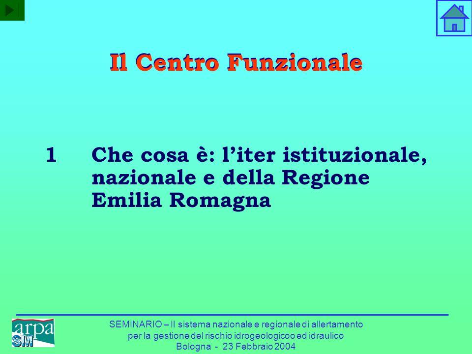 SEMINARIO – Il sistema nazionale e regionale di allertamento per la gestione del rischio idrogeologicoo ed idraulico Bologna - 23 Febbraio 2004 Il Cen