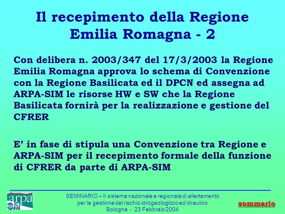 SEMINARIO – Il sistema nazionale e regionale di allertamento per la gestione del rischio idrogeologicoo ed idraulico Bologna - 23 Febbraio 2004 Il rec