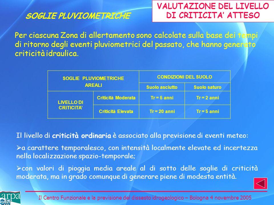 Il Centro Funzionale e la previsione del dissesto idrogeologico – Bologna 4 novembre 2005 Per ciascuna Zona di allertamento sono calcolate sulla base