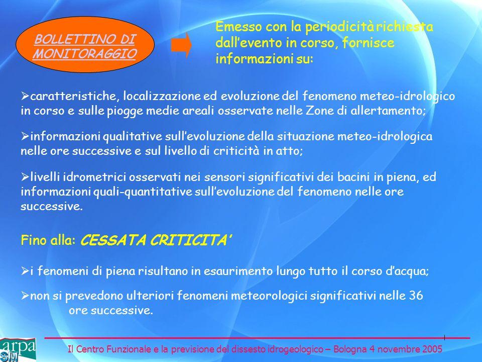 Il Centro Funzionale e la previsione del dissesto idrogeologico – Bologna 4 novembre 2005 BOLLETTINO DI MONITORAGGIO Emesso con la periodicità richies