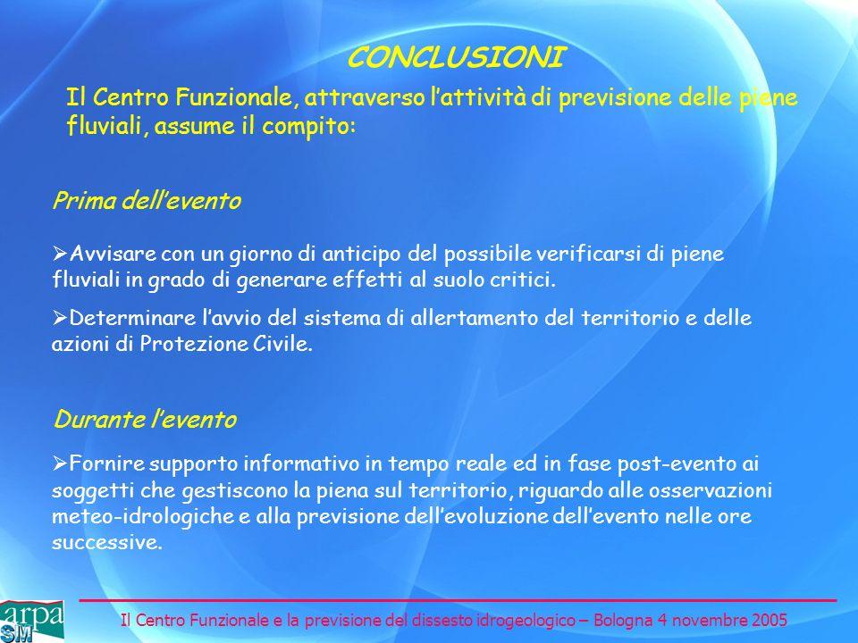 Il Centro Funzionale e la previsione del dissesto idrogeologico – Bologna 4 novembre 2005 CONCLUSIONI Il Centro Funzionale, attraverso lattività di pr