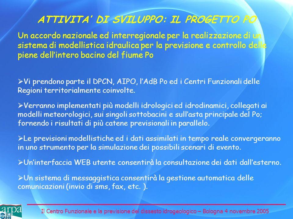 Il Centro Funzionale e la previsione del dissesto idrogeologico – Bologna 4 novembre 2005 ATTIVITA DI SVILUPPO: IL PROGETTO PO Un accordo nazionale ed