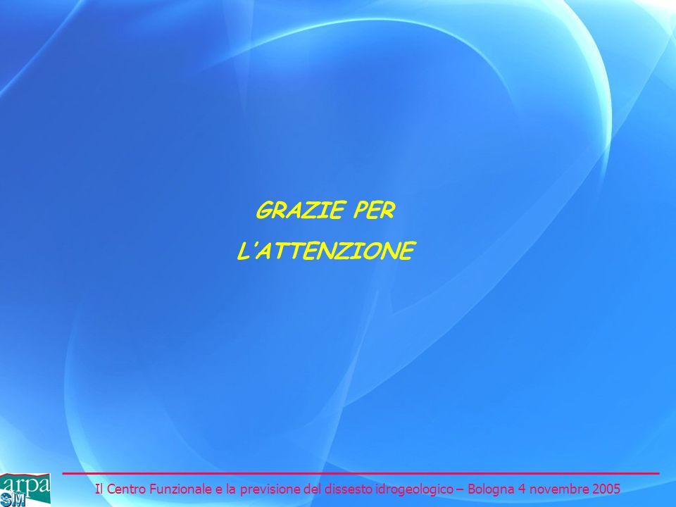 Il Centro Funzionale e la previsione del dissesto idrogeologico – Bologna 4 novembre 2005 GRAZIE PER LATTENZIONE