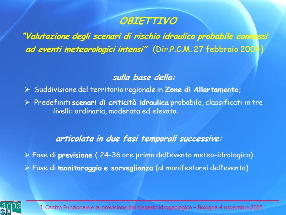 Il Centro Funzionale e la previsione del dissesto idrogeologico – Bologna 4 novembre 2005 Valutazione degli scenari di rischio idraulico probabile con