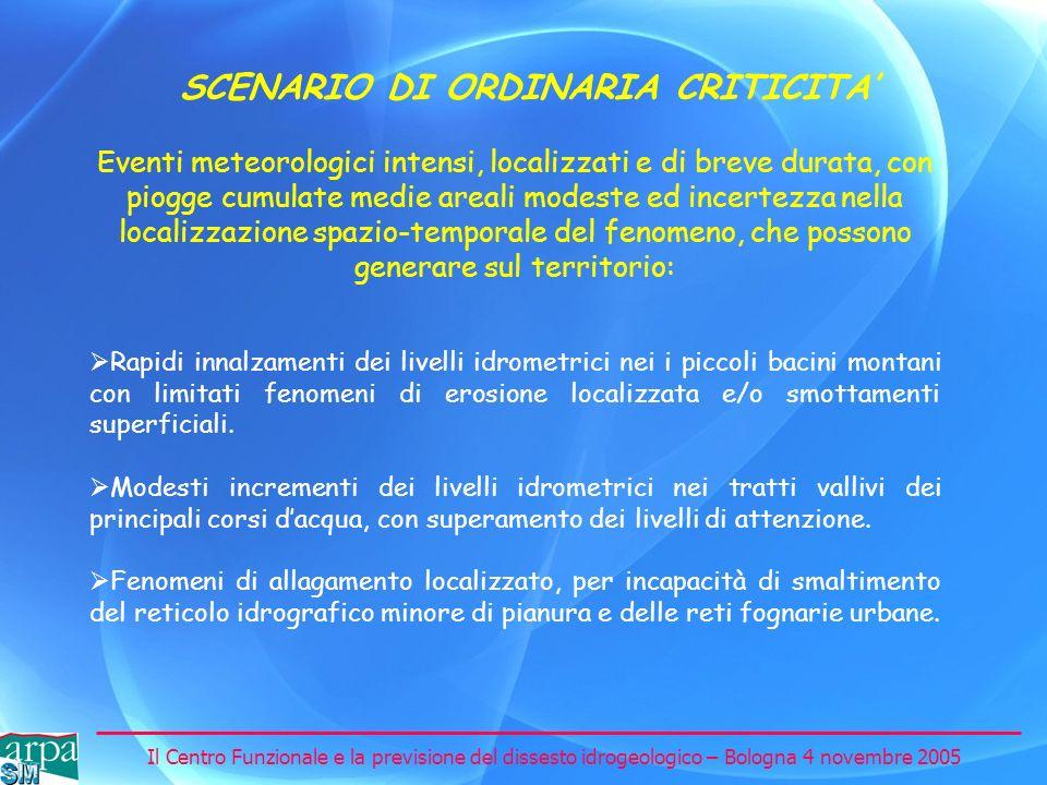 Il Centro Funzionale e la previsione del dissesto idrogeologico – Bologna 4 novembre 2005 SCENARIO DI ORDINARIA CRITICITA Rapidi innalzamenti dei live