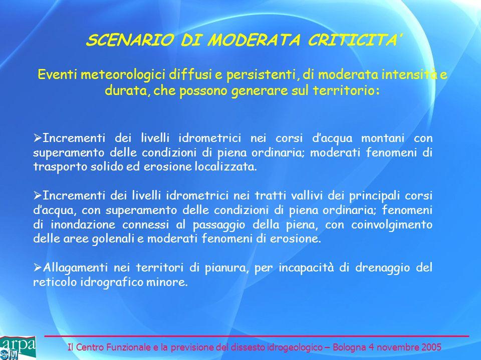 Il Centro Funzionale e la previsione del dissesto idrogeologico – Bologna 4 novembre 2005 SCENARIO DI MODERATA CRITICITA Incrementi dei livelli idrome