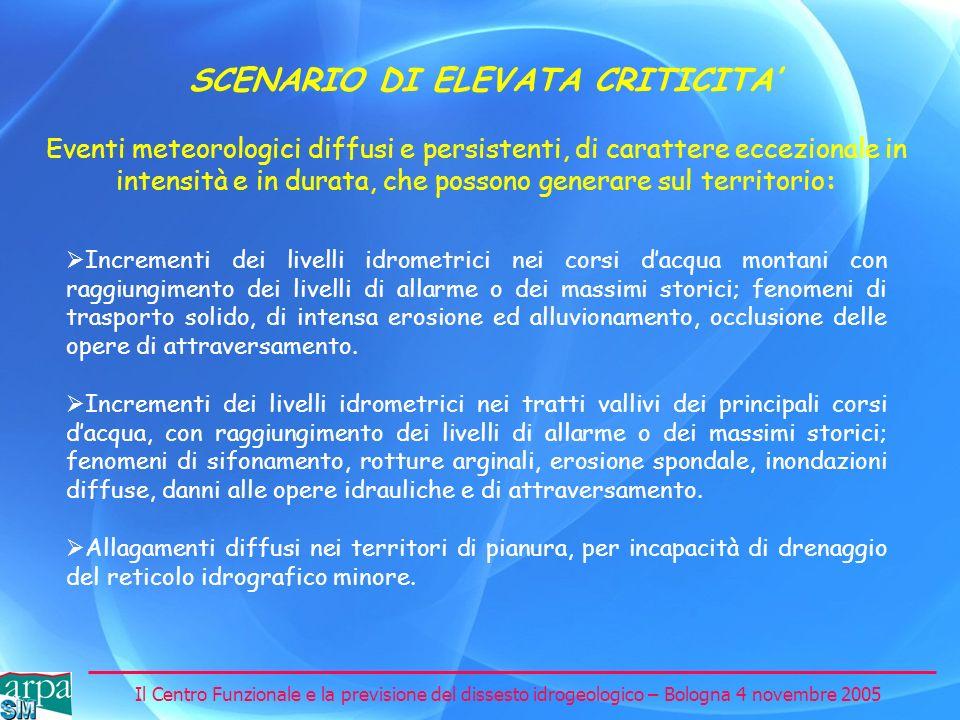 Il Centro Funzionale e la previsione del dissesto idrogeologico – Bologna 4 novembre 2005 SCENARIO DI ELEVATA CRITICITA Incrementi dei livelli idromet