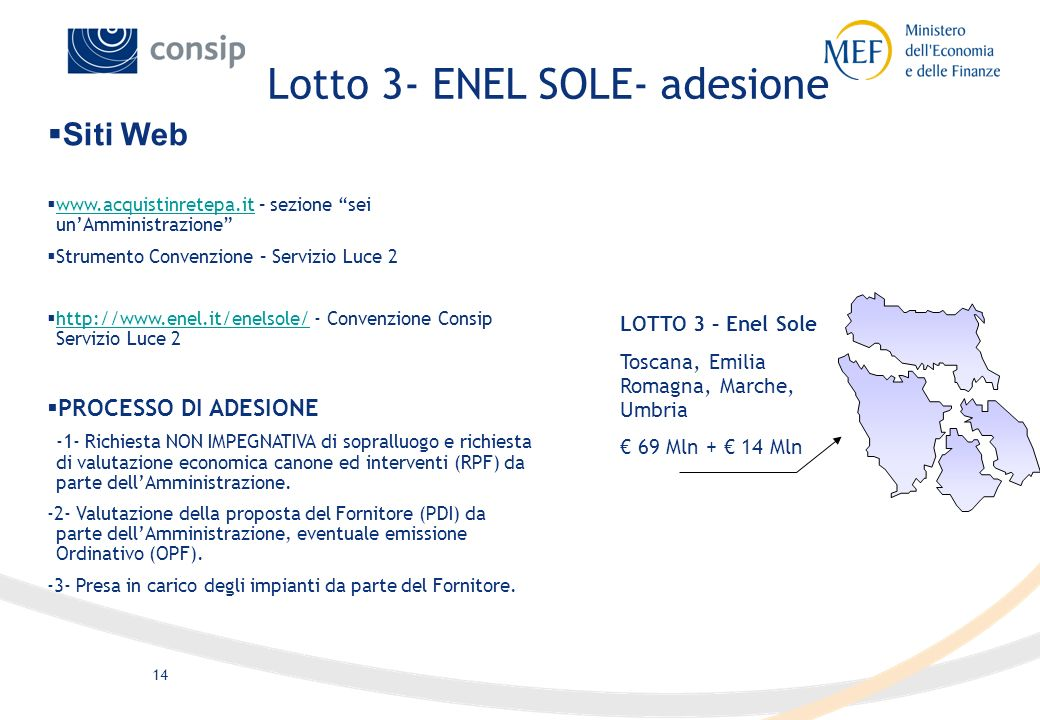 13 LOTTO 8- Gemmo Sicilia 47 Mln + 9 Mln LOTTO 7 – Enel Sole Puglia, Basilicata, Calabria 66 Mln + 13 Mln LOTTO 2 – RTI Consorzio Stabile Veneto, Friu