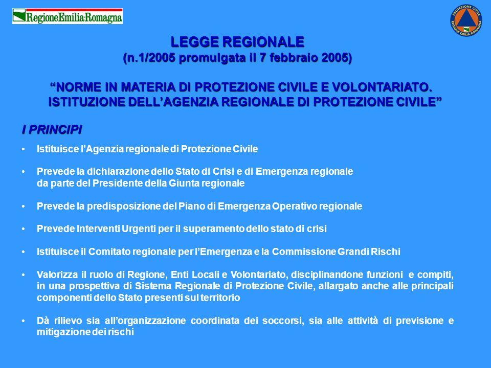 LEGGE REGIONALE (n.1/2005 promulgata il 7 febbraio 2005) NORME IN MATERIA DI PROTEZIONE CIVILE E VOLONTARIATO.