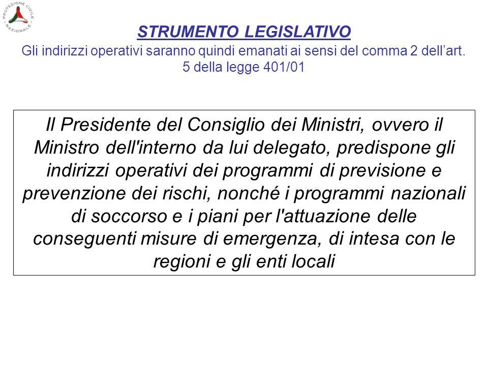 STRUMENTO LEGISLATIVO Gli indirizzi operativi saranno quindi emanati ai sensi del comma 2 dellart. 5 della legge 401/01 Il Presidente del Consiglio de
