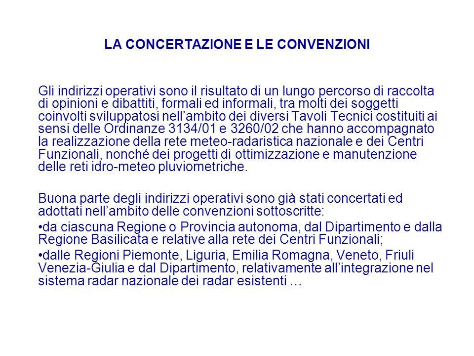 LA CONCERTAZIONE E LE CONVENZIONI Gli indirizzi operativi sono il risultato di un lungo percorso di raccolta di opinioni e dibattiti, formali ed infor
