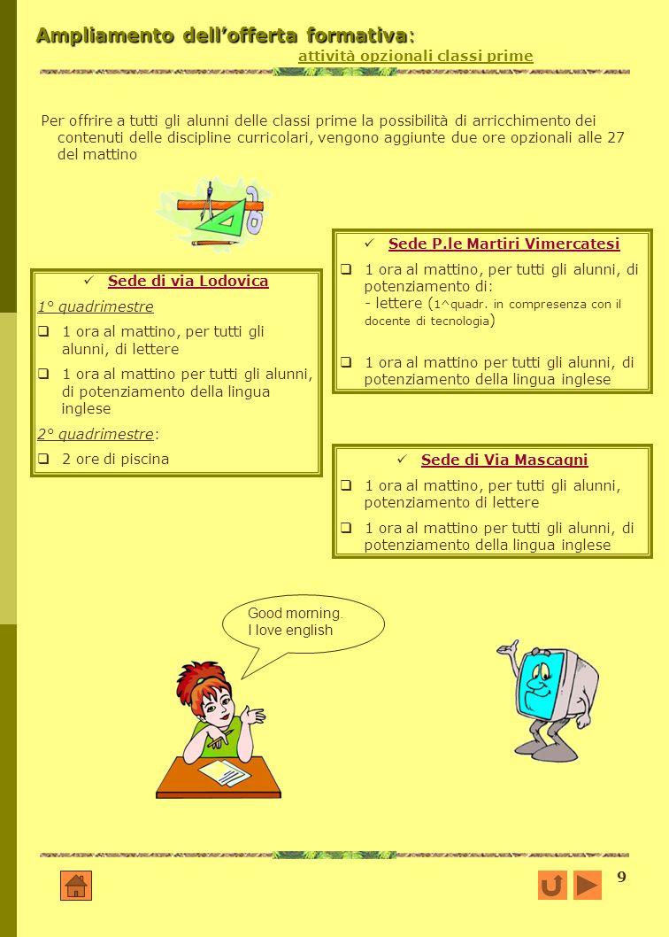 9 Ampliamento dellofferta formativa: Ampliamento dellofferta formativa: attività opzionali classi prime Per offrire a tutti gli alunni delle classi pr