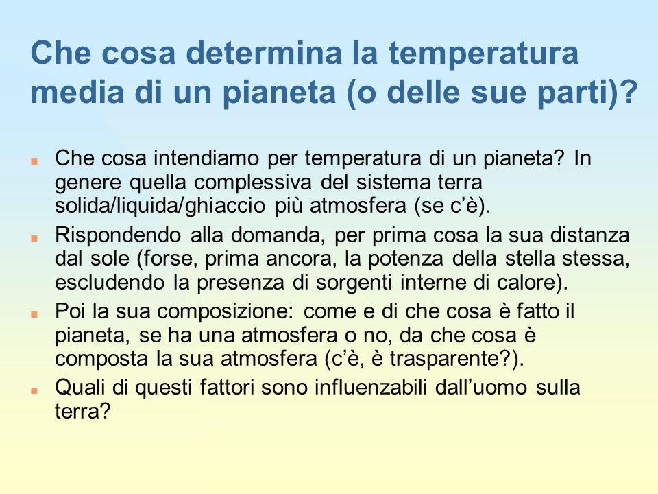Che cosa determina la temperatura media di un pianeta (o delle sue parti).