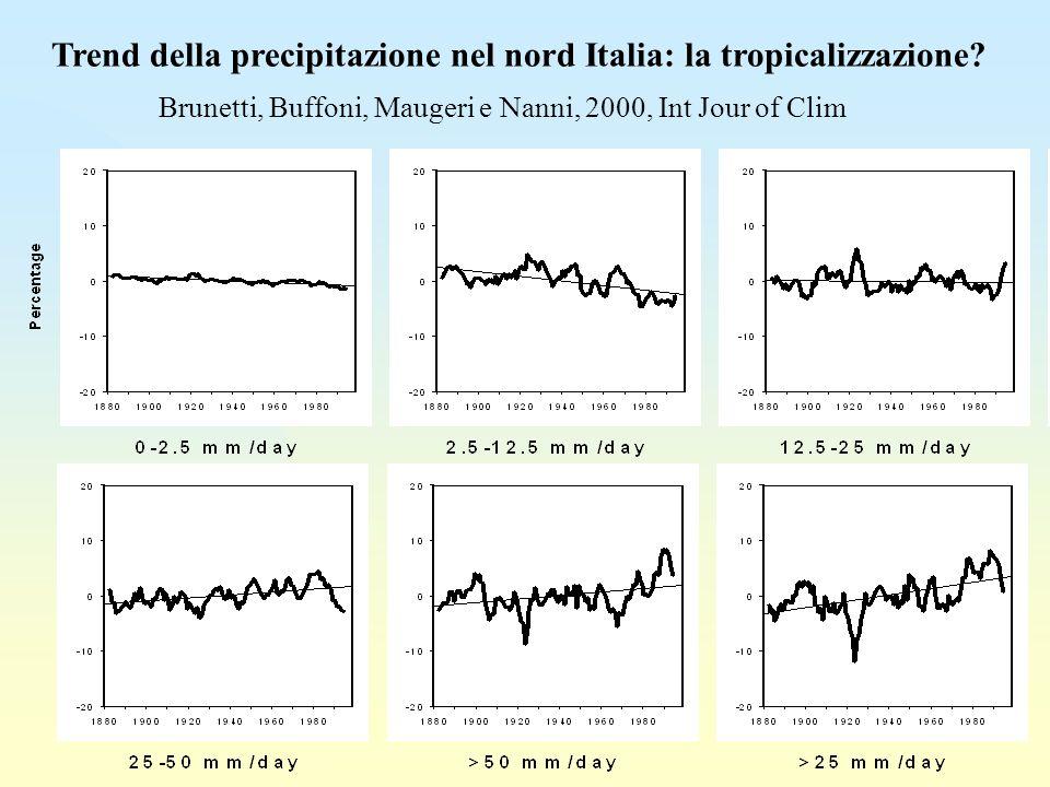 Trend della precipitazione nel nord Italia: la tropicalizzazione.