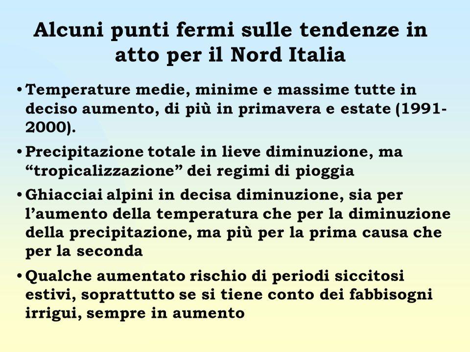 Alcuni punti fermi sulle tendenze in atto per il Nord Italia Temperature medie, minime e massime tutte in deciso aumento, di più in primavera e estate (1991- 2000).