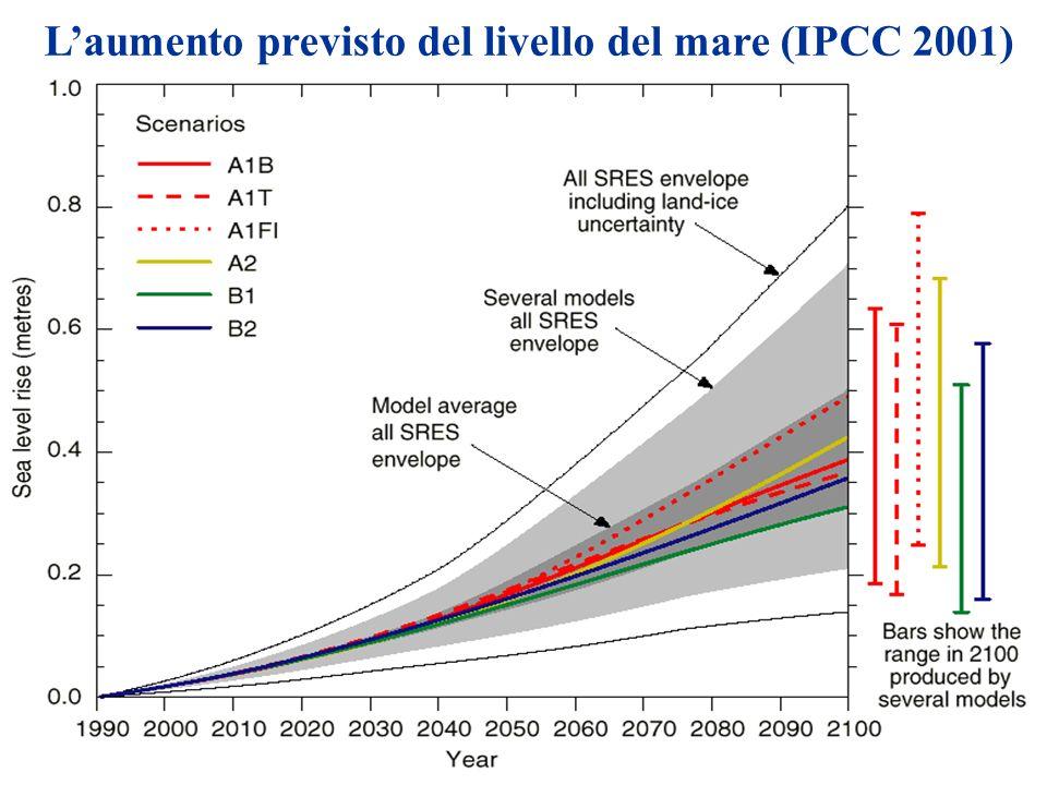 Laumento previsto del livello del mare (IPCC 2001)