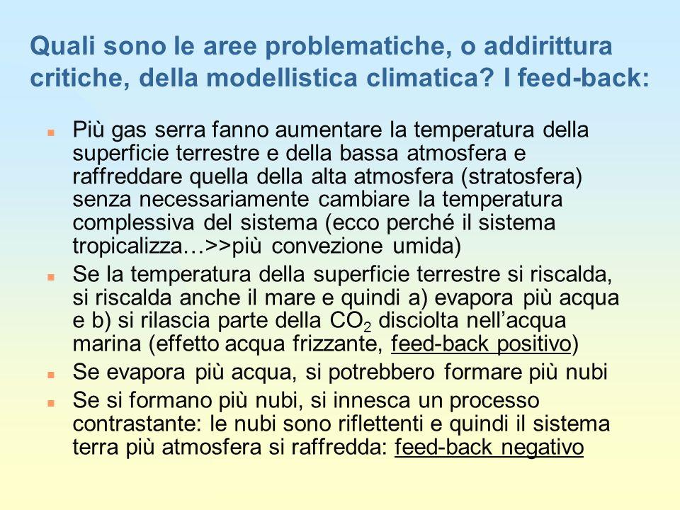 Quali sono le aree problematiche, o addirittura critiche, della modellistica climatica.