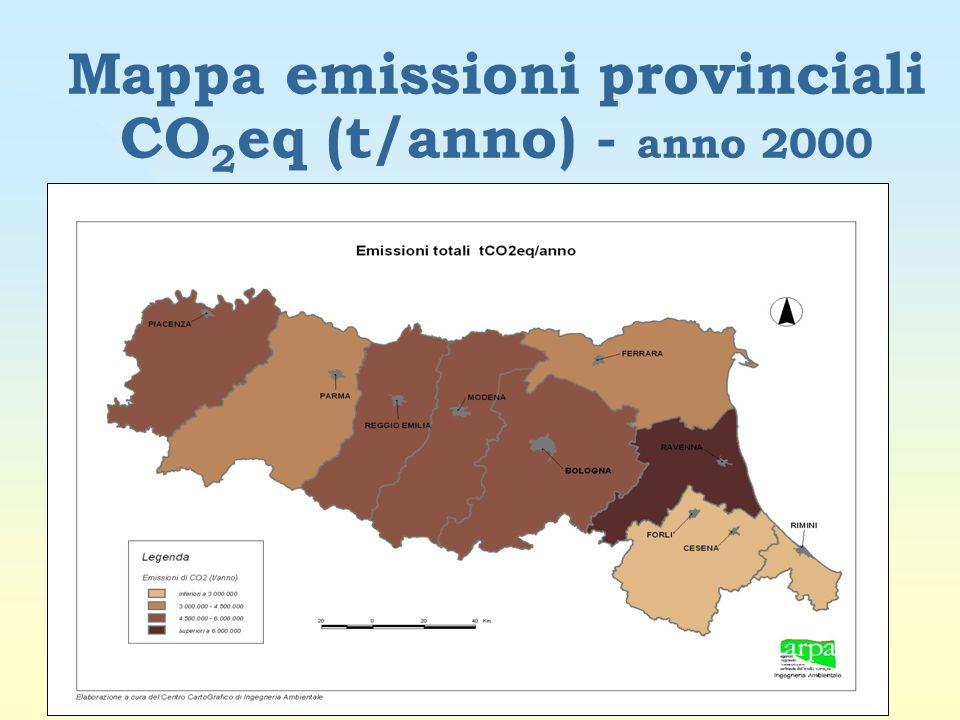 Mappa emissioni provinciali CO 2 eq (t/anno) - anno 2000