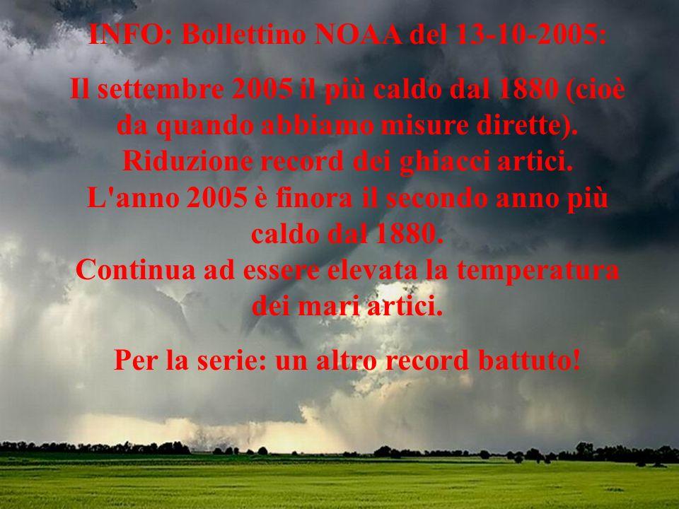 INFO: Bollettino NOAA del 13-10-2005: Il settembre 2005 il più caldo dal 1880 (cioè da quando abbiamo misure dirette).