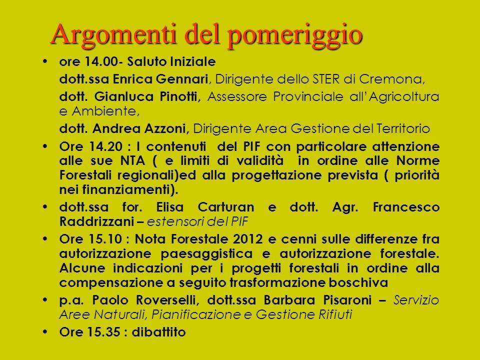 Argomenti del pomeriggio ore 14.00- Saluto Iniziale dott.ssa Enrica Gennari, Dirigente dello STER di Cremona, dott. Gianluca Pinotti, Assessore Provin