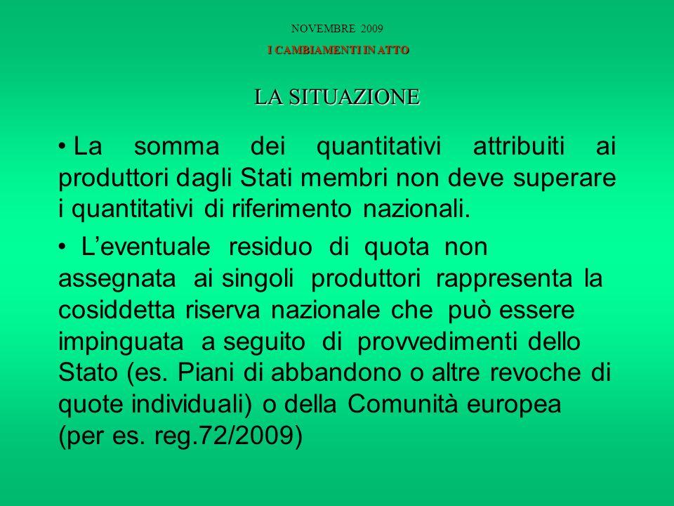 LA SITUAZIONE La somma dei quantitativi attribuiti ai produttori dagli Stati membri non deve superare i quantitativi di riferimento nazionali.
