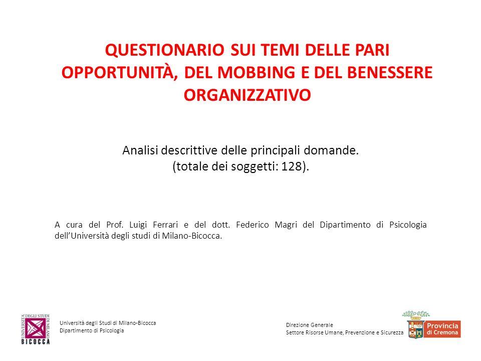 Università degli Studi di Milano-Bicocca Dipartimento di Psicologia Direzione Generale Settore Risorse Umane, Prevenzione e Sicurezza Dati anagrafici e occupazionali (128 soggetti)