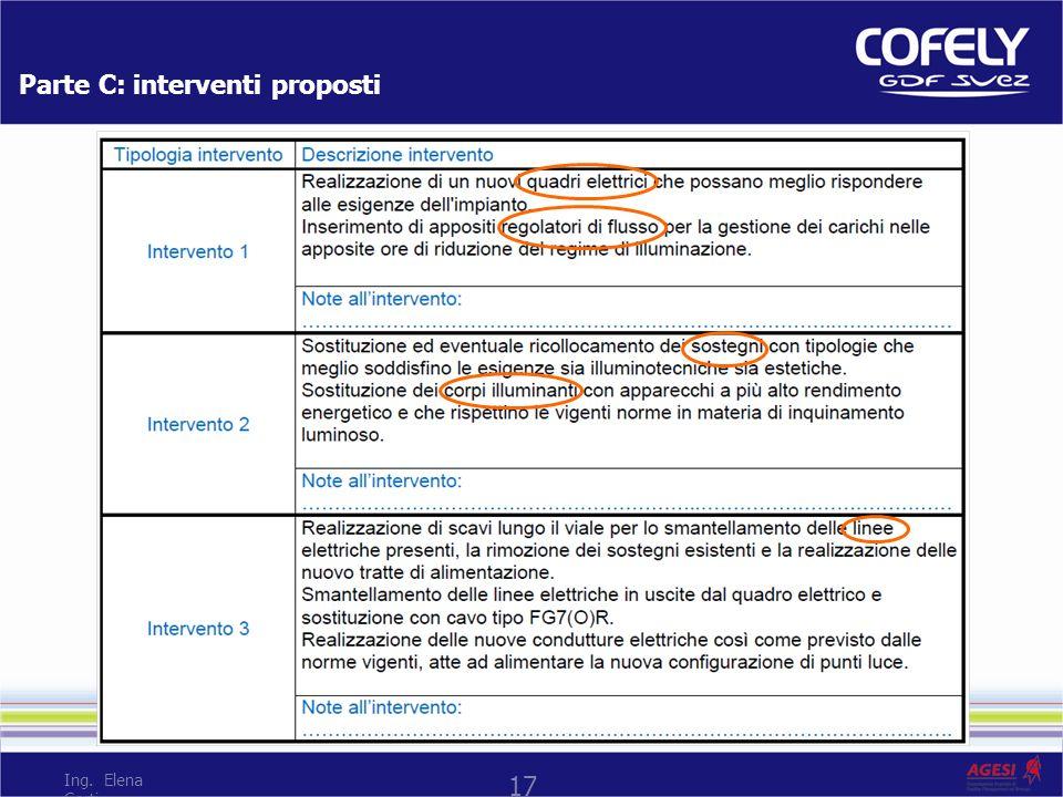 Parte C: interventi proposti 17 Ing. Elena Corti