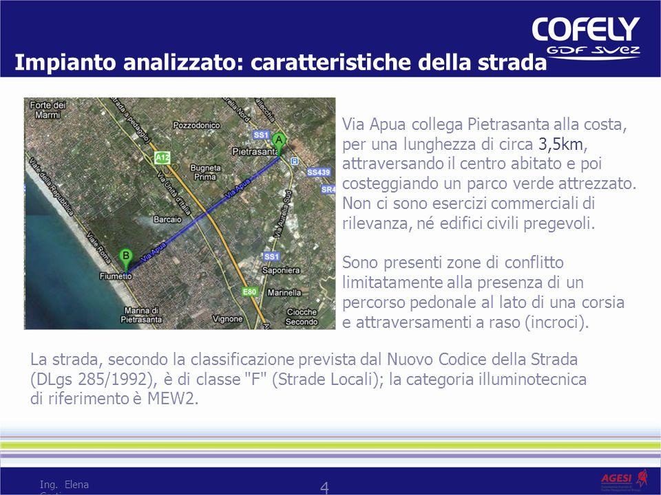 4 Impianto analizzato: caratteristiche della strada Via Apua collega Pietrasanta alla costa, per una lunghezza di circa 3,5km, attraversando il centro abitato e poi costeggiando un parco verde attrezzato.