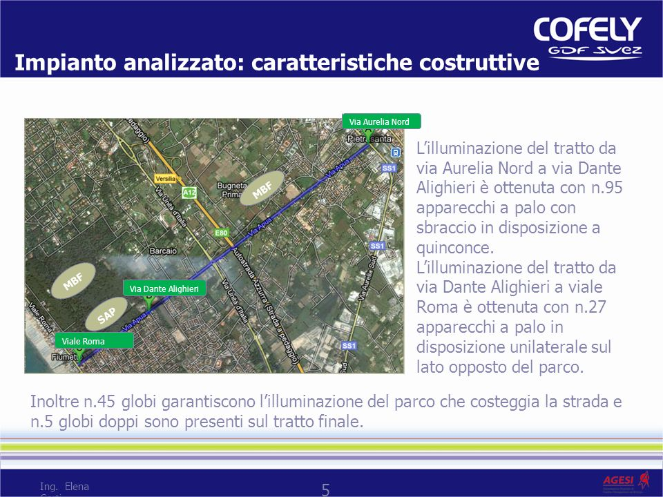5 Impianto analizzato: caratteristiche costruttive Lilluminazione del tratto da via Aurelia Nord a via Dante Alighieri è ottenuta con n.95 apparecchi