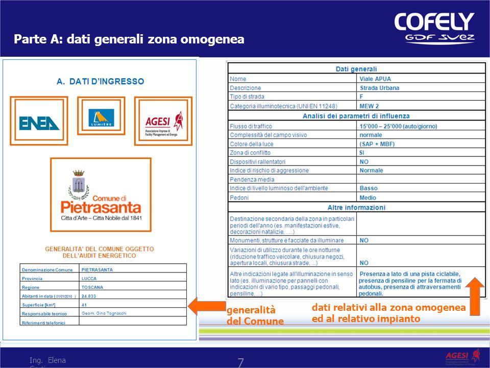 Parte A: dati generali zona omogenea generalità del Comune dati relativi alla zona omogenea ed al relativo impianto 7 Ing. Elena Corti