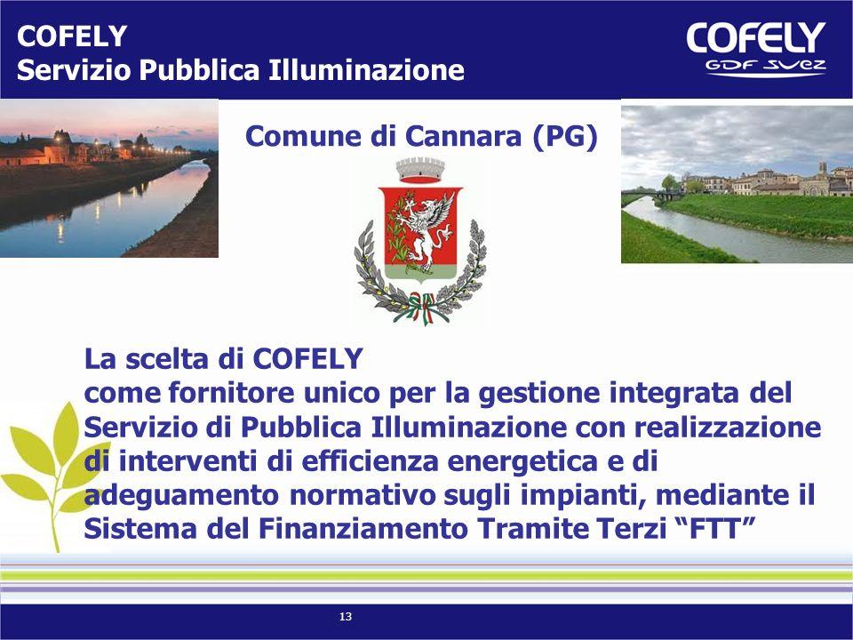 13 COFELY Servizio Pubblica Illuminazione Grosseto La scelta di COFELY come fornitore unico per la gestione integrata del Servizio di Pubblica Illumin
