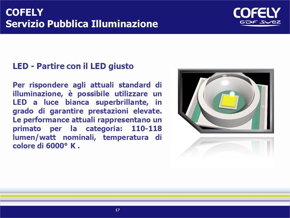 17 LED - Partire con il LED giusto Per rispondere agli attuali standard di illuminazione, è possibile utilizzare un LED a luce bianca superbrillante,