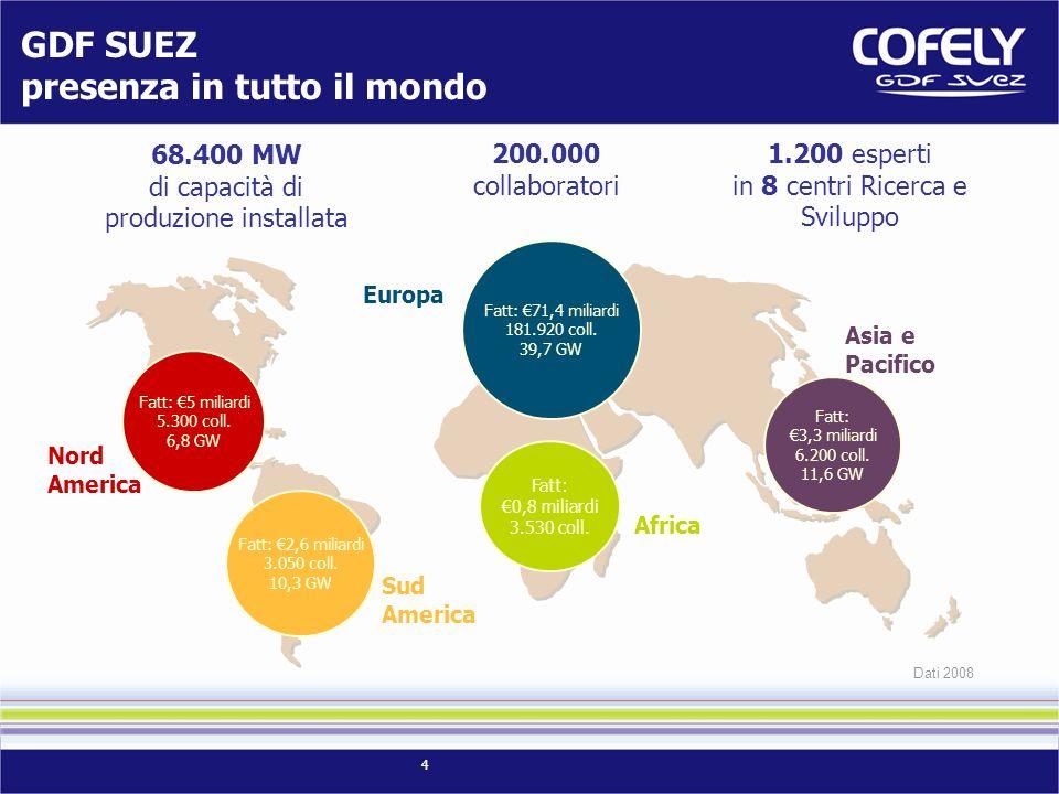 4 GDF SUEZ presenza in tutto il mondo Fatt: 2,6 miliardi 3.050 coll. 10,3 GW Fatt: 3,3 miliardi 6.200 coll. 11,6 GW Fatt: 5 miliardi 5.300 coll. 6,8 G