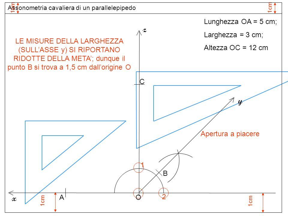 1cm 1 Apertura a piacere O z 2 y x Assonometria cavaliera di un parallelepipedo 1cm Lunghezza OA = 5 cm; Larghezza = 3 cm; Altezza OC = 12 cm Assi ass