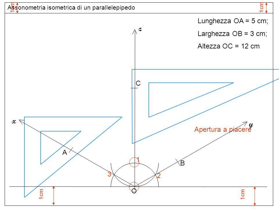 1cm 1 Apertura a piacere O z 2 3 y x Assonometria isometrica di un parallelepipedo 1cm Lunghezza OA = 5 cm; Larghezza OB = 3 cm; Altezza OC = 12 cm A