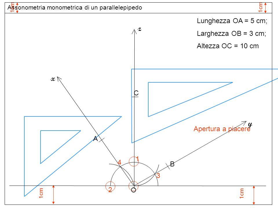 1cm 1 Apertura a piacere O z 3 2 y x 4 Assonometria monometrica di un parallelepipedo 1cm Lunghezza OA = 5 cm; Larghezza OB = 3 cm; Altezza OC = 10 cm