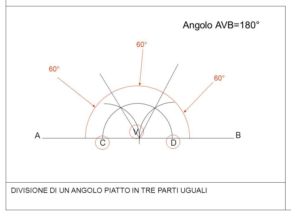 Angolo AVB=180° DIVISIONE DI UN ANGOLO PIATTO IN TRE PARTI UGUALI A B V CD 60°