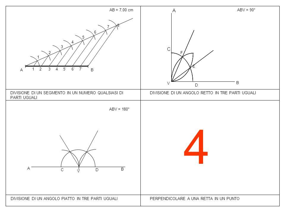4 PERPENDICOLARE A UNA RETTA IN UN PUNTO AB = 7,00 cmABV = 90° BA 1 2 3 4 5 6 7 8 7 6 54 3 2 1 DIVISIONE DI UN SEGMENTO IN UN NUMERO QUALSIASI DI PART